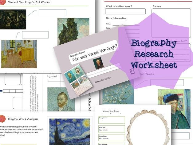 Biography Research Report / Vincent van Gogh Biography worksheet
