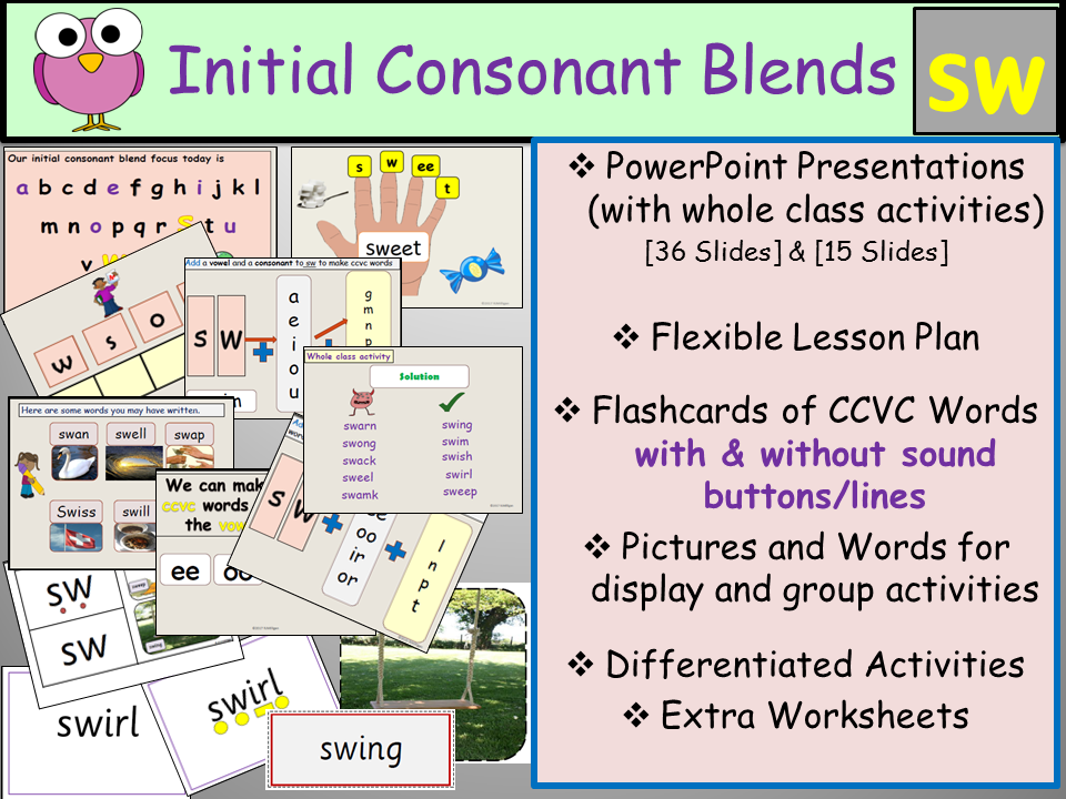 Phonics: Phase 4 Consonant Blend Sw-CCVC Words, Presentations, Worksheets/Activities, Flashcards