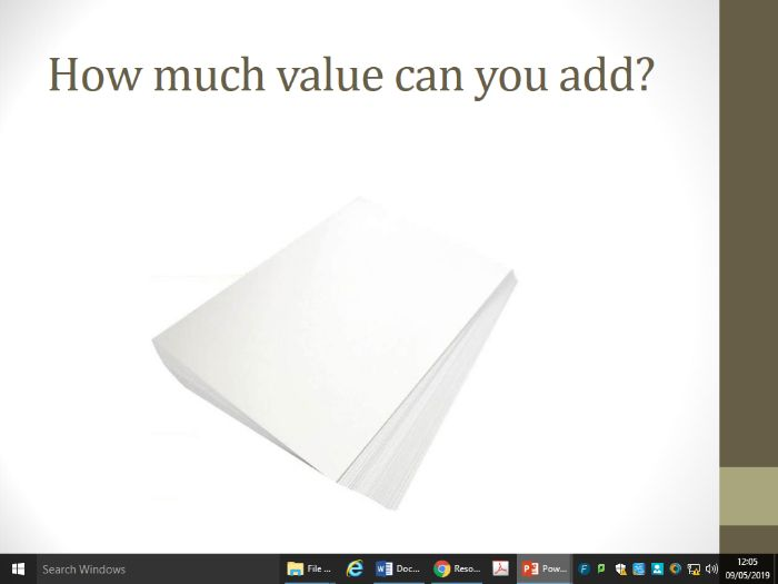 Adding value PowerPoint and tasks