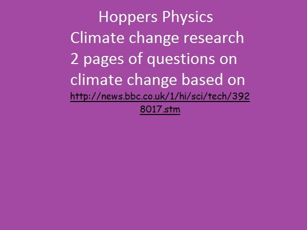 Hoppers Physics climate change research