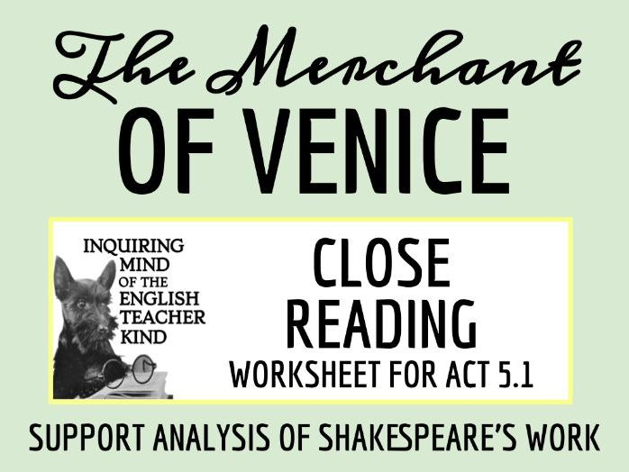 The Merchant of Venice Close Reading Worksheet - Act 5, Scene 1