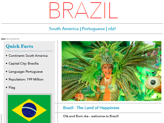 Discover Brazil - Printable Worksheet