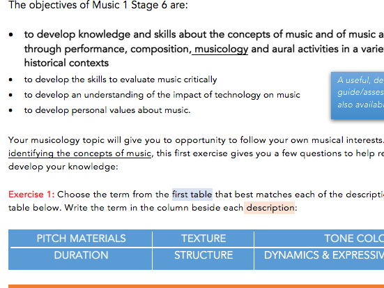 HSC Musicology Exercise and sample viva-voce