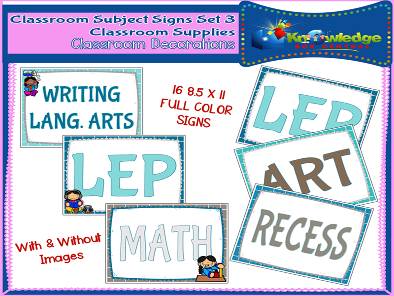 Classroom Subject Signs Set 3