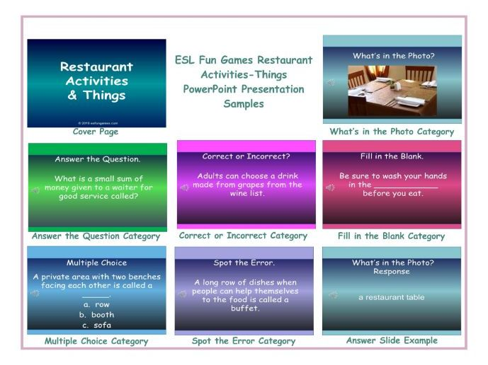 Restaurant Activities-Things PowerPoint Presentation