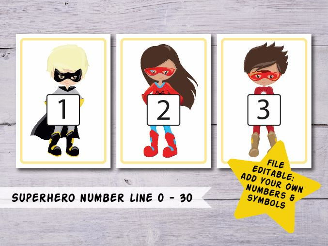 Superhero Number Line, 0 - 30 Superhero Numberline, Numberline Superheroes
