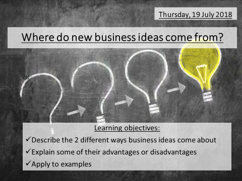 2. How business ideas come about GCSE Business Edexcel 1-9