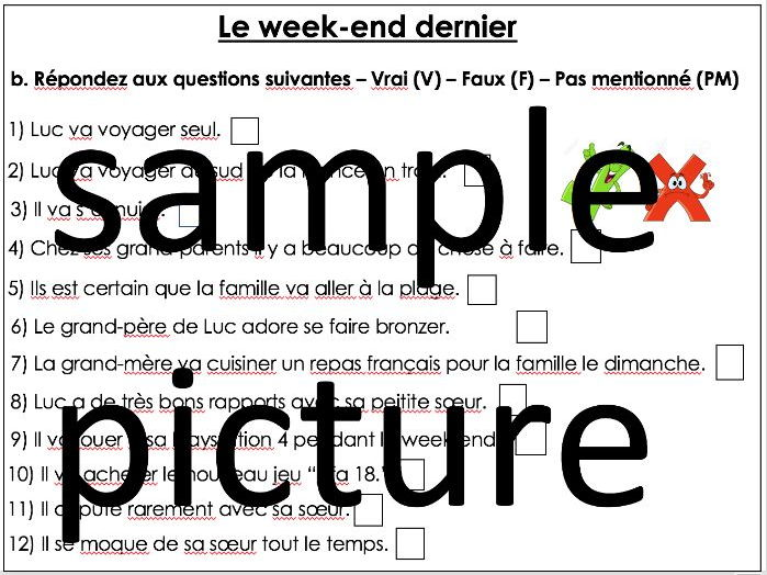 GCSE French - Free time- Ce week-end worksheet - This weekend