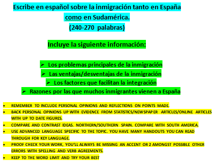 Series of PPs on Immigration in Spain with an essay question to reinforce key information covered.