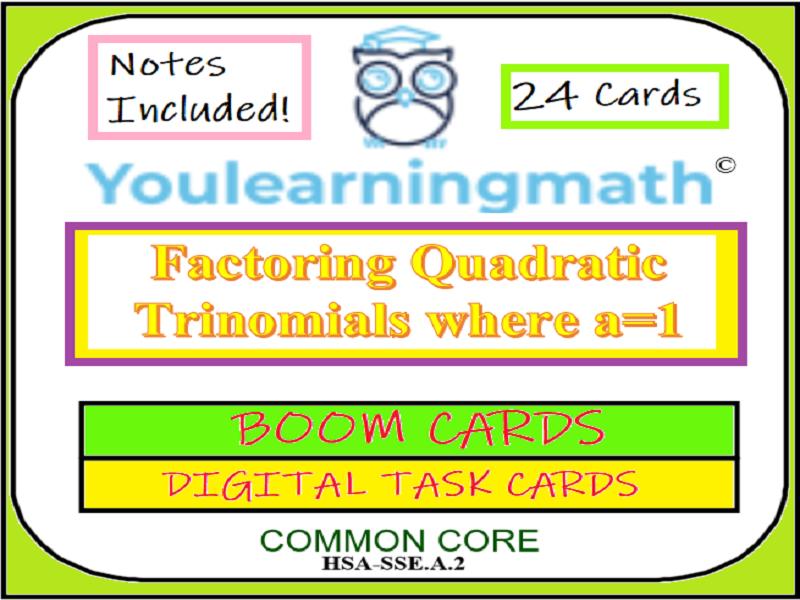 Factoring Quadratic Trinomials where a=1: DIGITAL BOOM Cards (+21 Printable Task Cards)