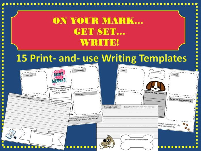 On your Mark...Get Set...WRITE! 15 Complete Writing Prompt Templates