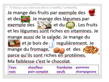La nourriture et la santé. (Food and health).