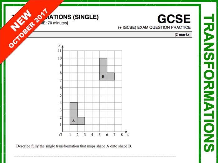 GCSE 9-1 Exam Question Practice (Single Transformations)