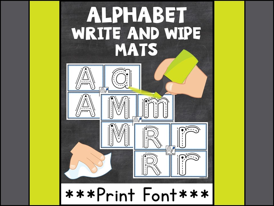 Alphabet:  Alphabet Write and Wipe Mats Print Style