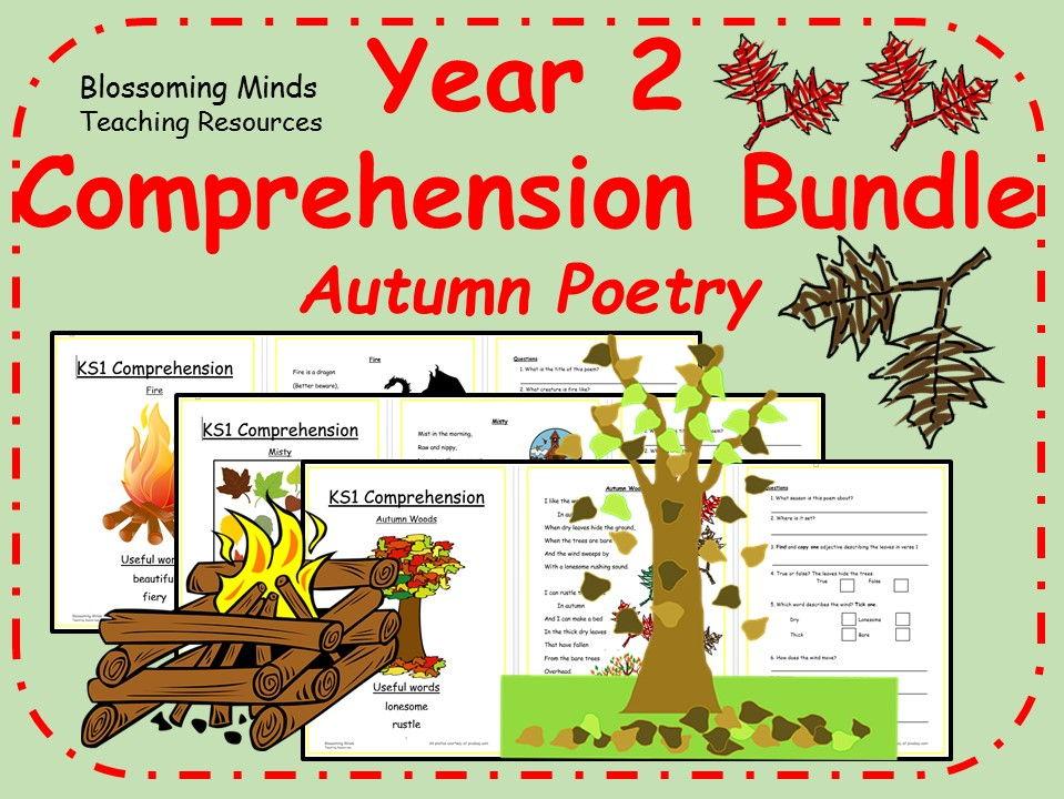 Year 2 autumn poetry comprehension bundle