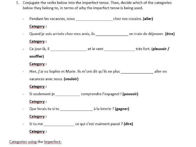 French Tenses Worksheet