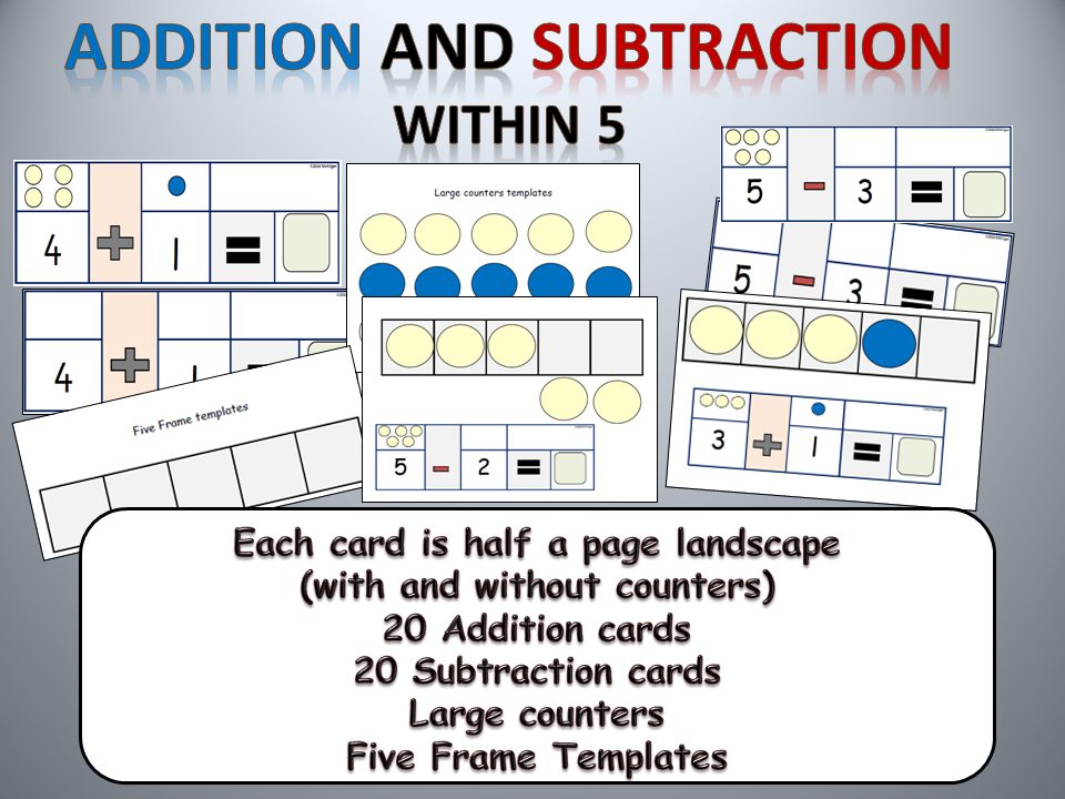 Addition and Subtraction Sums within 5, Five Frame template, large 2 ...