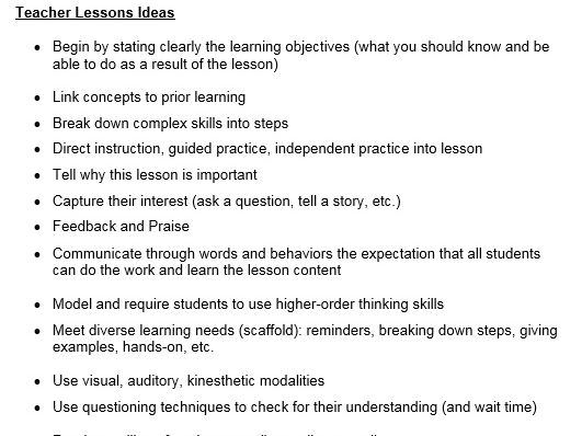 Teacher Tips (Tips for successful teaching/lessons)