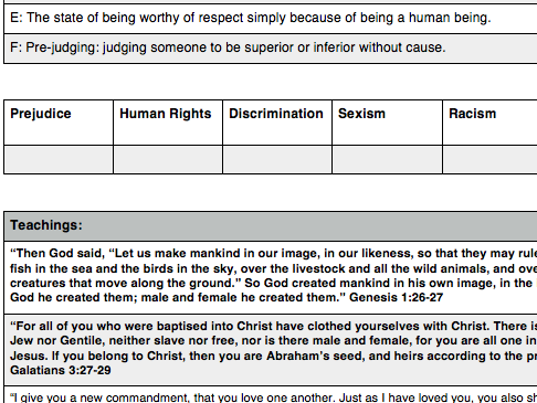 Eduqas RS GCSE New Spec. Issues of Human Rights: definitions and Bible teachings match-up task