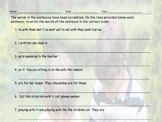 Object Pronouns Statements Scrambled Sentences Worksheet