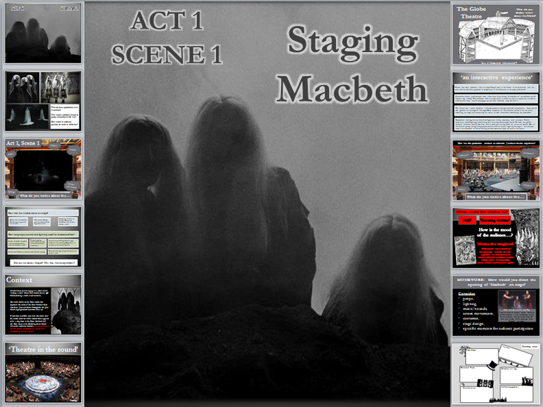 Macbeth- Act 1 Scene 1 (whole lesson, video clips and worksheet)