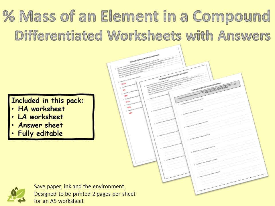 Calculate percentage mass of an element in a compound - Differentiated worksheets and answers
