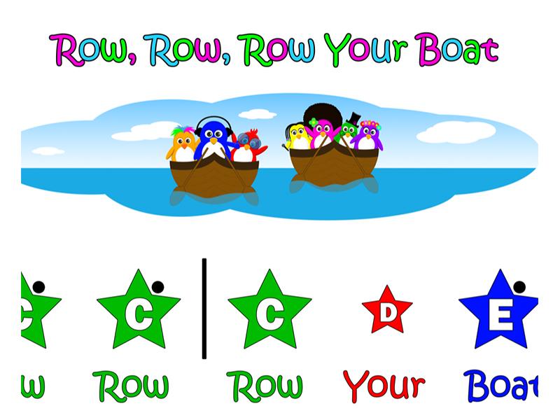 Row, Row, Row Your Boat - Nursery Rhyme Easy Piano Score (Coloured Stars)