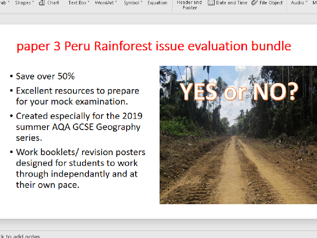 GCSE Geography tropical rainforests Peru pre-release 2019