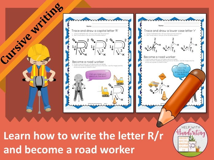 Learn how to write the letter R (Cursive style) and become a road worker