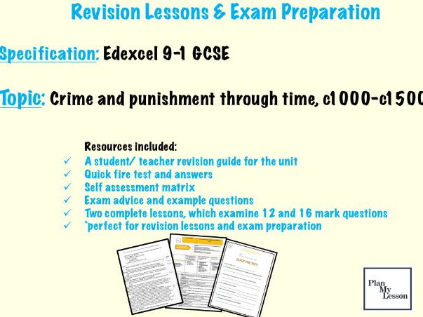 Edexcel 9-1 GCSE Crime and punishment through time, c1000 - c1500 revision pack
