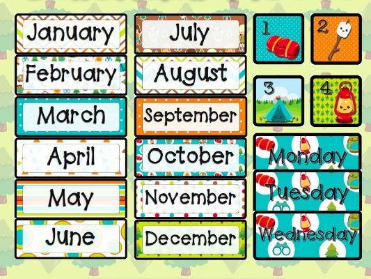 Camping Calendar Pieces