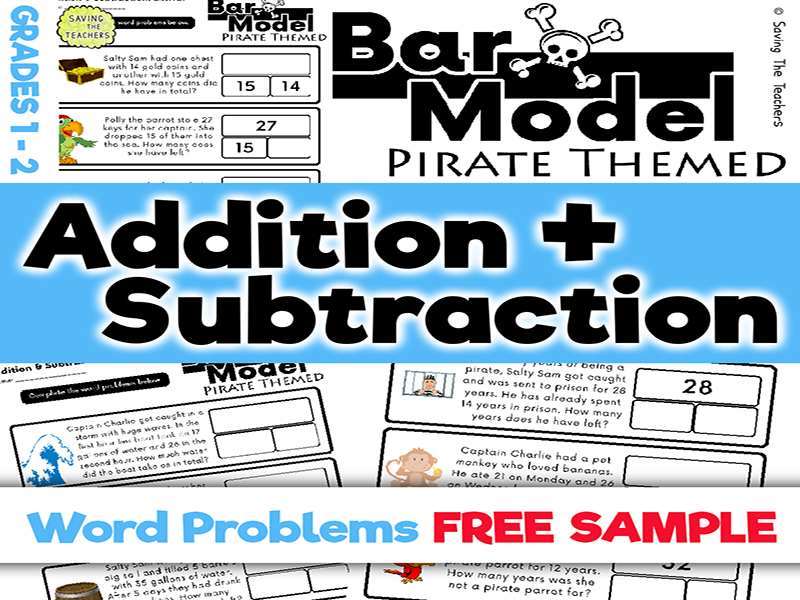 Free Sample: Pirates: Addition & Subtraction Bar Model Word Problems: Years 2 - 3
