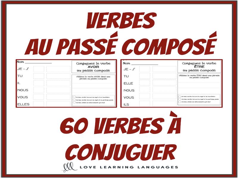 Verbes Au Passe Compose 60 Verbes Francais A Conjuguer Teaching Resources