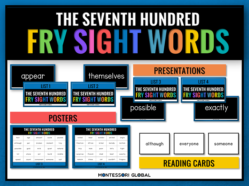Fry Sight Words | The 7th 100 | PowerPoint Flashcards, Posters & Reading Cards