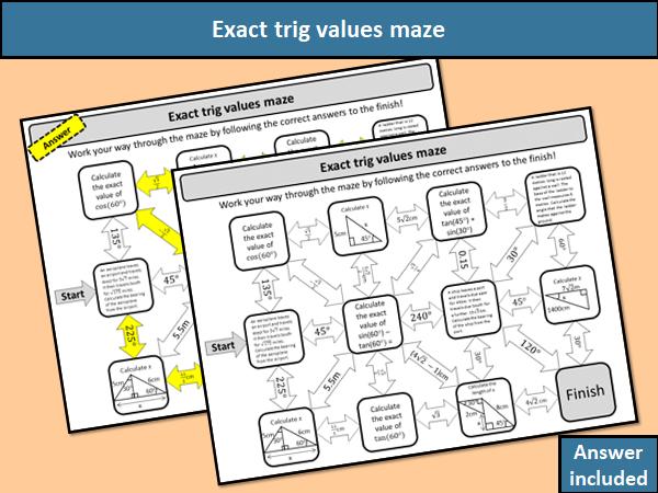 Exact trig values maze
