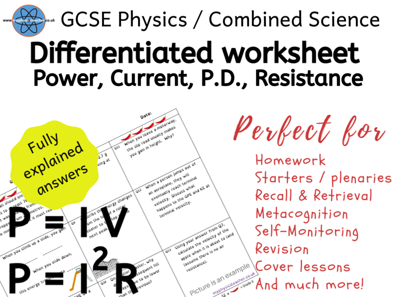 Electrical Power (Current) - GCSE Physics and/or Combined Science Differentiated Equation Worksheet