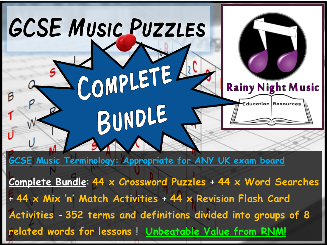 GCSE MUSIC TERMINOLOGY PUZZLES – COMPLETE BUNDLE – SUITED TO ALL UK GCSE MUSIC SPECS