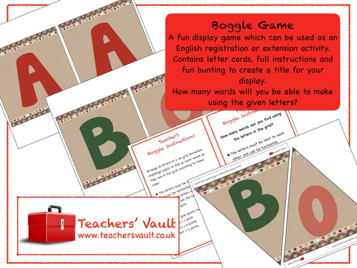 Boggle Game Display By Helenrachelcrossley Teaching Resources Tes