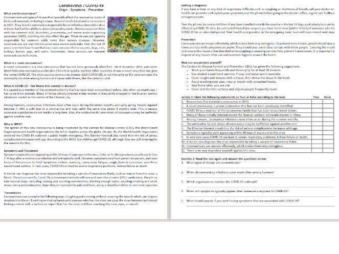Coronavirus / COVID-19 - Reading Comprehension Worksheet / Text