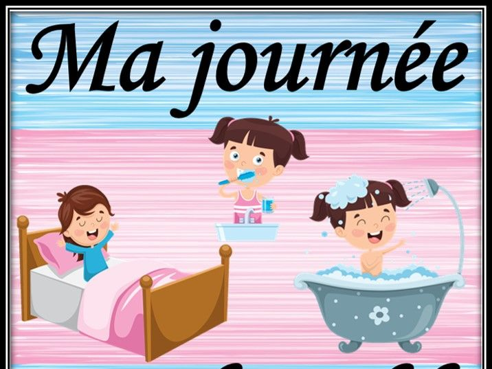 Daily routine in French. Board game. La journée. Jeu de table.