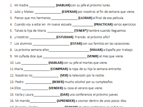 Spanish Tenses - Worksheet Practice Pack