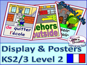41 FRENCH DISPLAY/POSTER/FLASHCARDS(KS2/3): Classroom, school places, school day, time/half hour.
