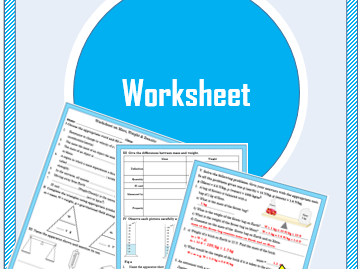 Worksheet on Mass, Weight and Density