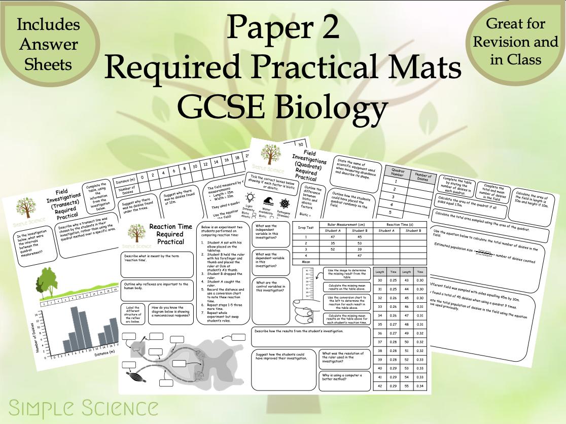 Biology Required Practicals - AQA GCSE Biology Trilogy Paper 2