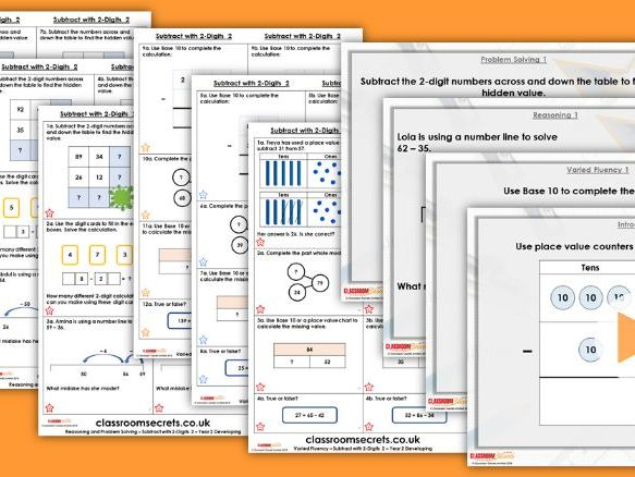 Year 2 Subtract with 2-Digits 2 Autumn Block 2 Step 15 Lesson Pack