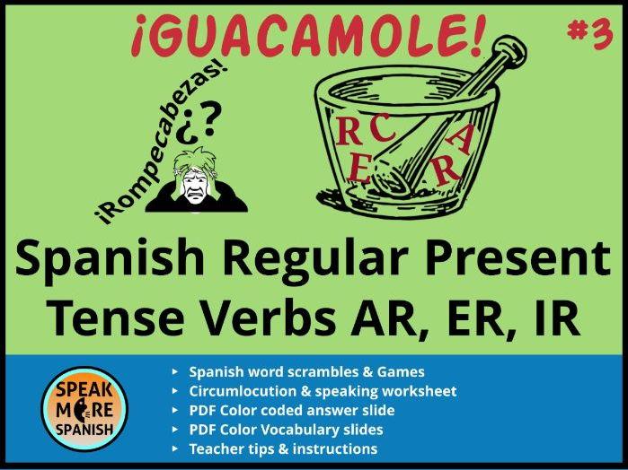 Spanish Puzzles & Games * Regular Present Tense Verbs *Verbos regulares en el presente en español