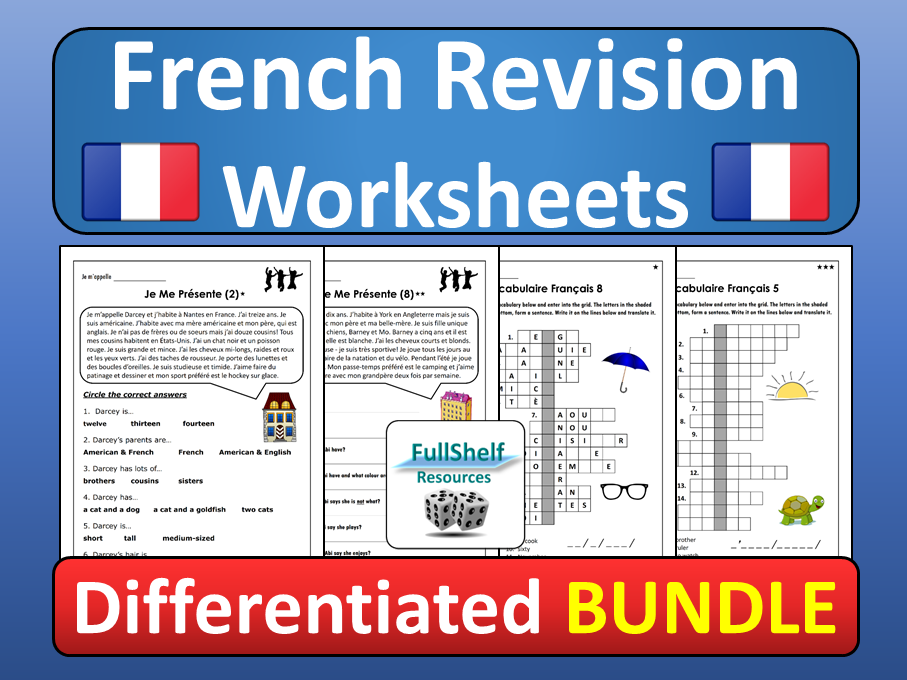 French Revision Worksheets
