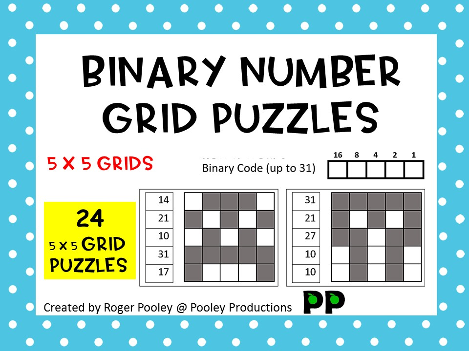 Binary Number Grid Puzzles - 5 x 5 grids