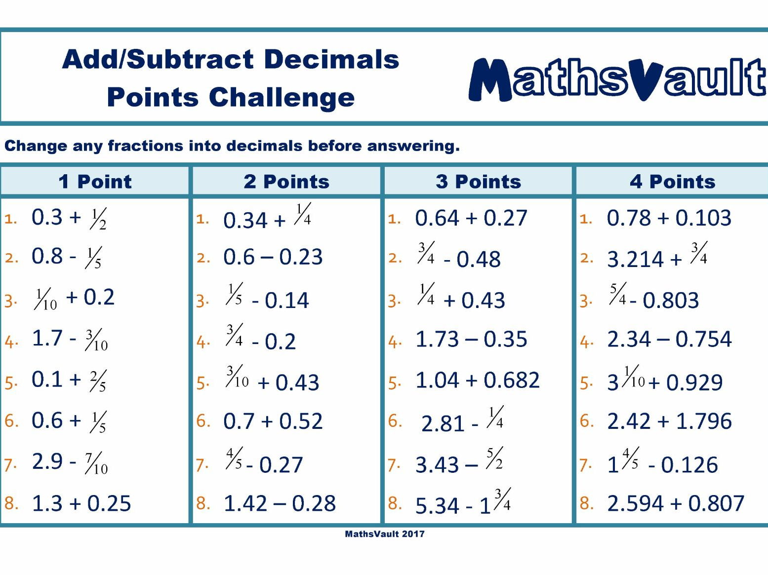 add or subtract decimals points challenge worksheet by jtodd  add or subtract decimals points challenge worksheet by jtodd  teaching  resources  tes
