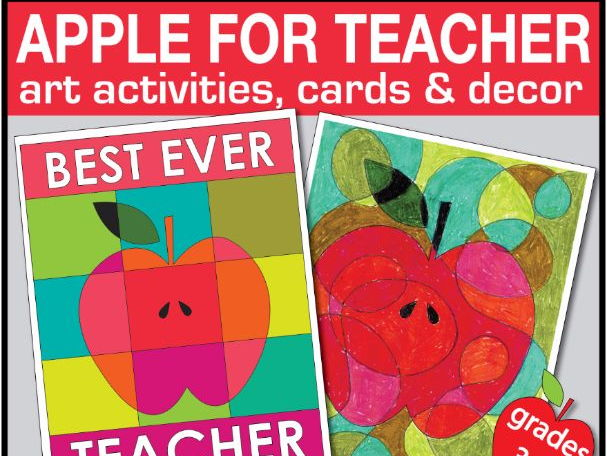 End of year art activities, apple theme teacher card & decor